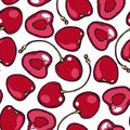 Seamless pattern with cherries. Background for kitchen, wrapping paper, tissue. Royalty Free Stock Photo