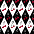 Seamless pattern with cherries on black and white rhombus background Stock Photos