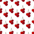 Seamless pattern with cherries. Cherries on a white background. Royalty Free Stock Photo