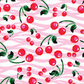 Seamless pattern with cherries . Hand drawing watercolor