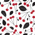 Seamless pattern with cherries and leaves on white background. Royalty Free Stock Photo