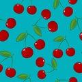 Seamless Pattern ,Cherry on Azure Background Royalty Free Stock Photo