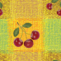 Seamless pattern with cherry berries Royalty Free Stock Photo