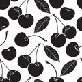 Seamless pattern with cherry. Black and white background. Royalty Free Stock Photo