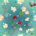 Seamless pattern with cherry and flowers Stock Photos