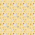 Seamless pattern of a chicken, chicken egg in a basket and a wheat ear. Watercolor illustration isolated on yellow background
