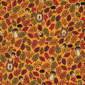 Seamless pattern with children of autumn vector doodle background Royalty Free Stock Photos