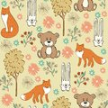 Seamless pattern children with foxes and hares Stock Images