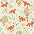 Seamless pattern children hand drawn with foxes Stock Image