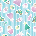Seamless pattern with childrens goods and toys. Cute design for poster, card, textile. Tender colors.