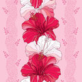 Seamless pattern with Chinese Hibiscus flower in red and in white on the pink background with stripes Royalty Free Stock Photo