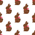 Seamless Pattern Chocolate Bunny with Pink Ribbon