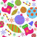 Seamless pattern with christmas attributes a Stock Photography