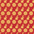 Seamless pattern with Christmas bell  holly leaves and berries, a ball  snowflakes. Royalty Free Stock Photo