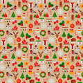 Seamless Pattern with Christmas Flat Icons. Royalty Free Stock Photo