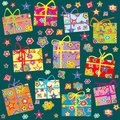 Seamless pattern with Christmas gifts Stock Photo