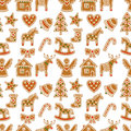 Seamless pattern with Christmas gingerbread cookies - Xmas tree, candy cane, angel, bell, sock, gingerbread men, star, heart, deer