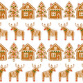 Seamless pattern with Christmas gingerbread cookies - xmas tree, deer, house. Royalty Free Stock Photo