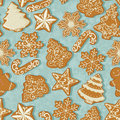 Seamless pattern with christmas gingerbread in vintage style on christmas tree background for greeting card xmas vector Royalty Free Stock Photo