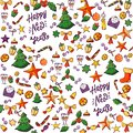 Seamless pattern for Christmas, Happy New Year. hand drawn elements on white. bell, candy, gift, ball star, Christmas