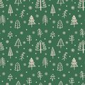 Seamless pattern for Christmas and New Year. Hand-drawn vector illustration of trees and snowflakes in beige on a green background