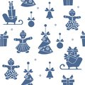 Seamless pattern with christmas, new year symbols.