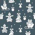 Seamless pattern with christmas, new year symbols