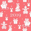 Seamless pattern with christmas and new year symbols. Christmas trees origami, gingerbread man, bells, balls, sledges, gifts