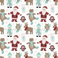 Seamless pattern for Christmas and New Year. Vector hand-drawn illustration of Santa, owls on skis, a bear on skates, a hare, a pe