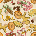 Seamless pattern of christmas sweets cookies orange and spices Stock Photos