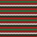 Seamless pattern in Christmas traditional colors. Classic geometric ornament. Zigzag horizontal lines wallpaper. Royalty Free Stock Photo