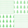 Seamless pattern with Christmas tree. A set of eight patterns. Vector.