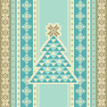 Seamless pattern with christmas trees card traditional geometric knitted ornament Stock Images