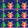 Seamless pattern with Christmas trees,with  light blue and d star in two shades on dark blue background  with snow element Royalty Free Stock Photo