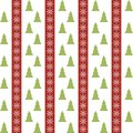 Seamless pattern with christmas trees and vector snowflakes Stock Photography