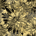 Seamless pattern with chrysanthemum flowers vecto vector illustration Royalty Free Stock Photos