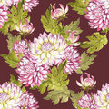 Seamless pattern with chrysanthemums. Hand draw watercolor illustration.