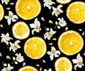 Seamless pattern with circle slices of citrus fruit, seeds and b