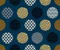 Seamless pattern with circle of zigzag lines, gold, blue and black color on dark blue background