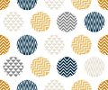Seamless pattern with circle of zigzag lines, gold, blue and black color on white background