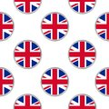 Seamless pattern from circles with flag of the United Kingdom.