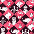 Seamless pattern with circus performers vector texture for wallpapers fills web page backgrounds Stock Photography