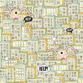 Seamless pattern with city and monsters vector illustration Royalty Free Stock Photography