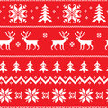 Seamless pattern with classical sweater design winter deer snowflake and christmas tree Stock Images