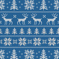 Seamless pattern with classical sweater design winter deer snowflake and christmas tree Stock Photography