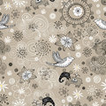 Seamless pattern of clouds, birds and elephants Royalty Free Stock Image