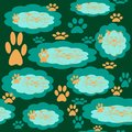 Seamless pattern of clouds with a cat`s head pattern and traces of cat`s paws.