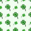 Seamless pattern with clover leaves. Simple vector illustration.