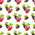 Seamless pattern of clusters of berries of red currant and black smrodina on a branch in low poly style on a white background