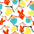 Seamless pattern coat hanger with a bathing suit, T-shirt. vecto
